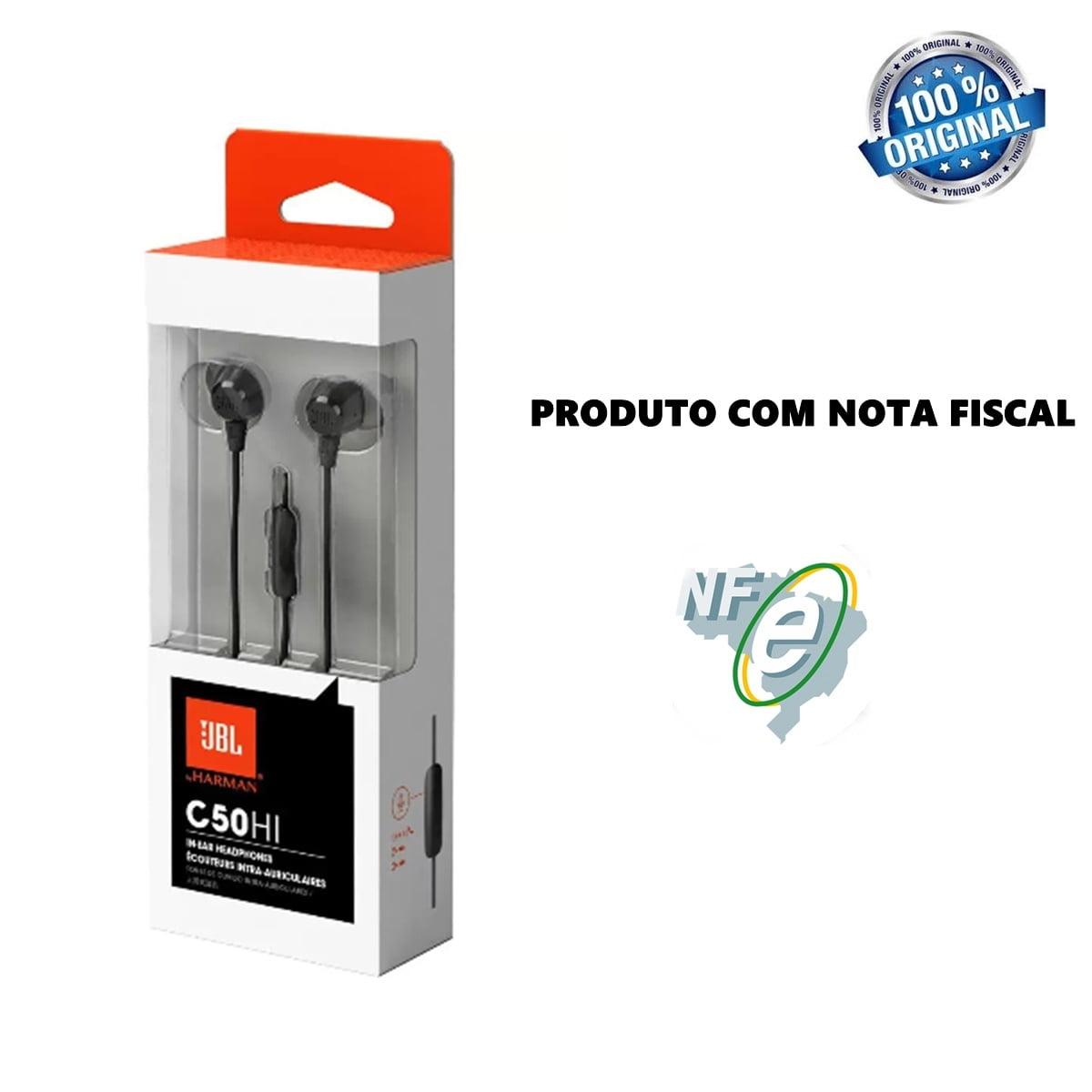 Fone De Ouvido Original com microfone Para Celular cabo de 1,2 metros Jbl C50hi