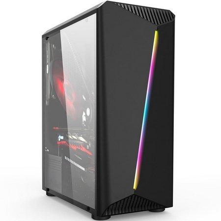 Gabinete Gamer com usb 2.0/3.0 Atx e Micro Atx fita led rgb diagonal Hayon Gb1700