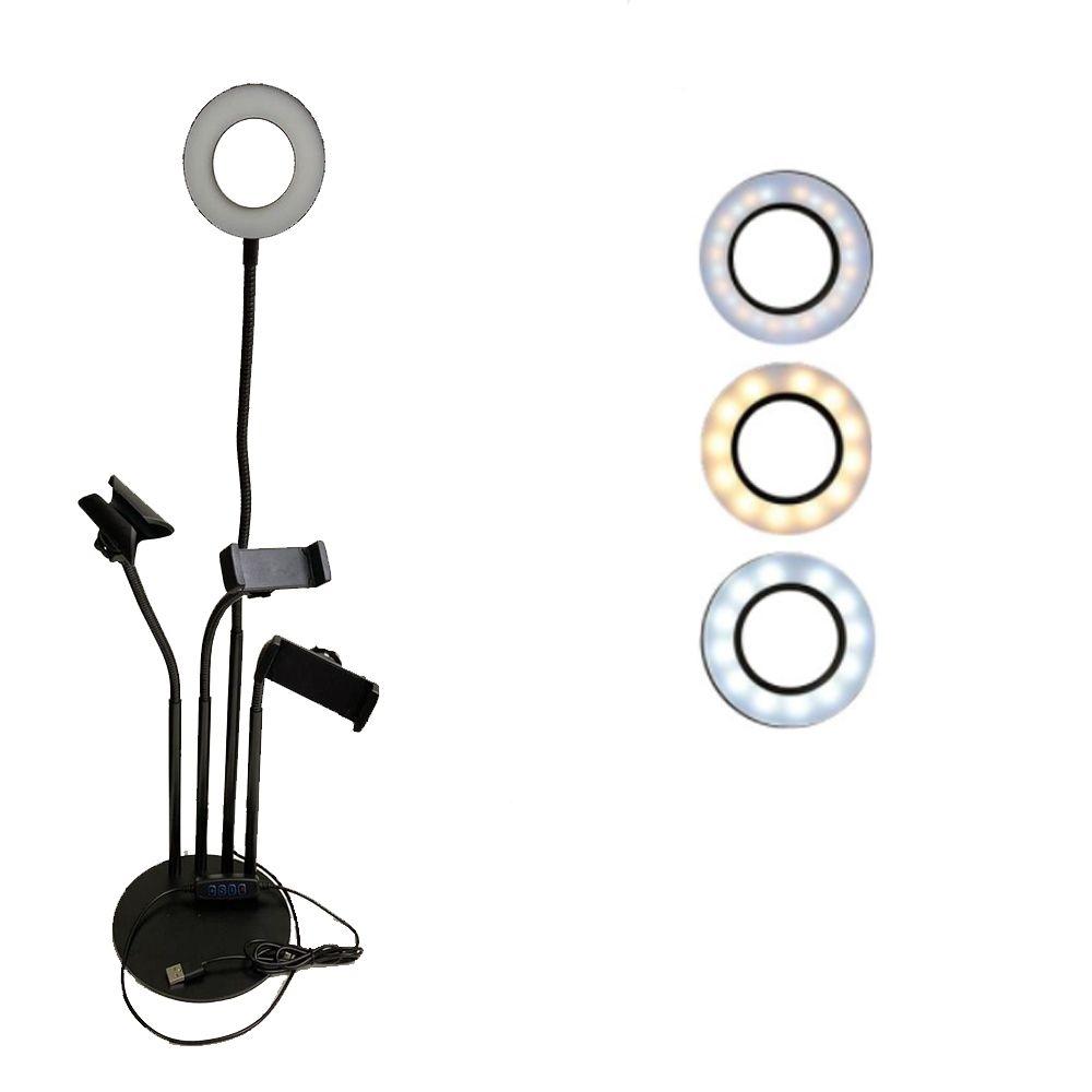 Iluminador  Light Suporte Articulado de Mesa Live Stream c/controle