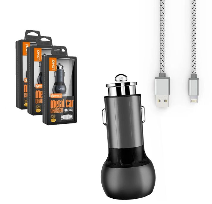 Kit 3 Carregadores Iphone Veicular Turbo - 2 Usb Metalico LDNIO 36w