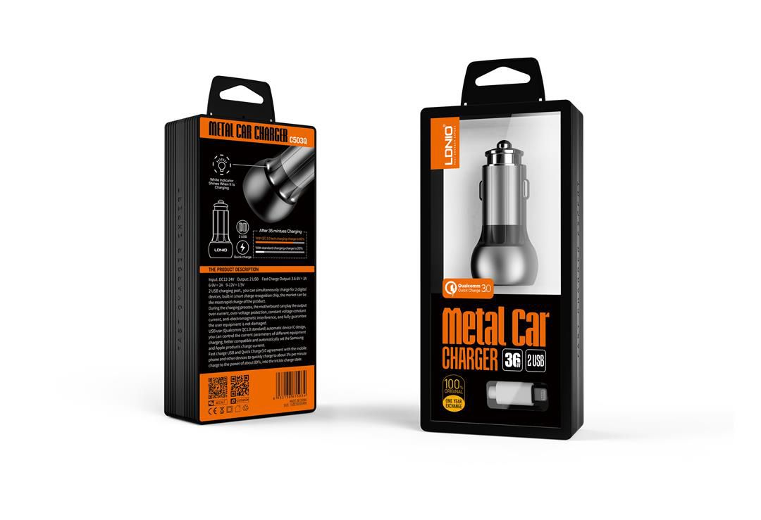 Kit 3 Carregadores Iphone Veicular Turbo - 2 Usb Metalico LDNIO 36w