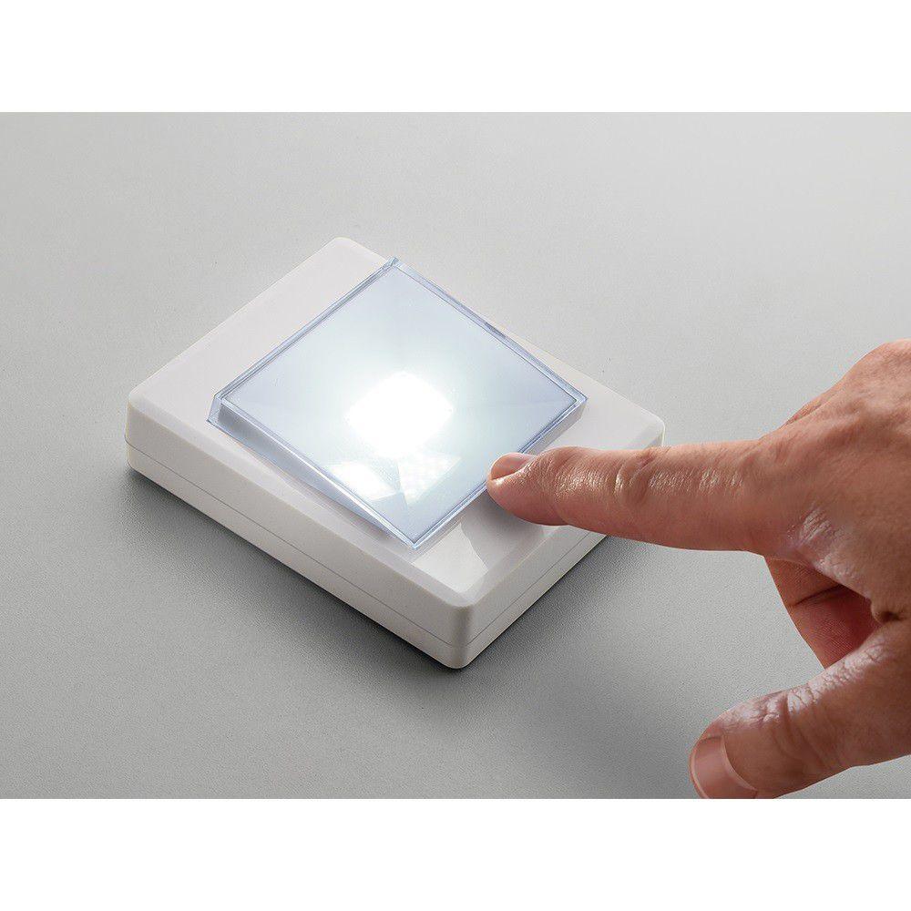 Kit 4 Luminarias LED Botão A Pilha 3W Branca - Elgin