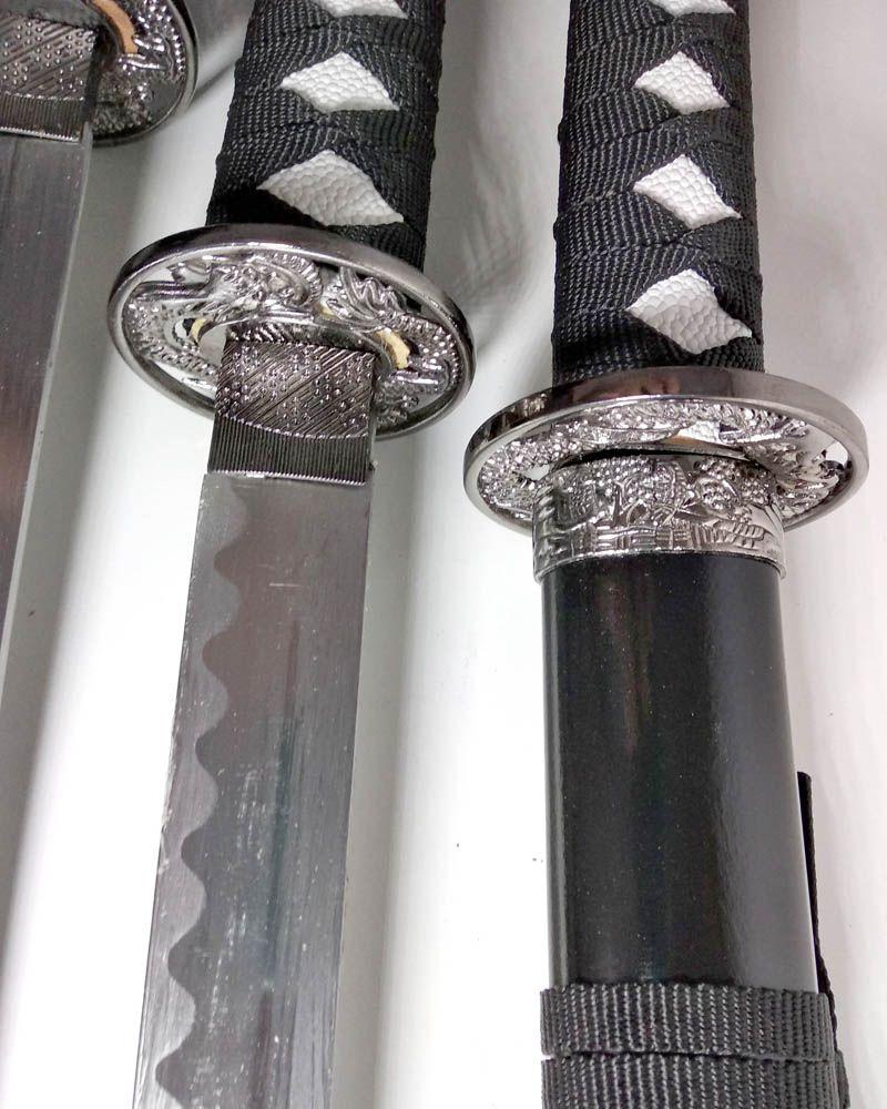 Kit Espadas Katanas Decorativas Com 3 - Com Suporte
