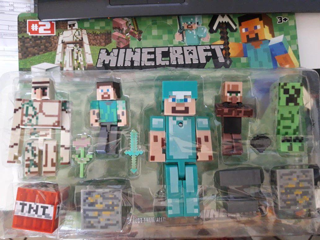 Kit Minecraft Bonecos Articulados Com 12 Pecas