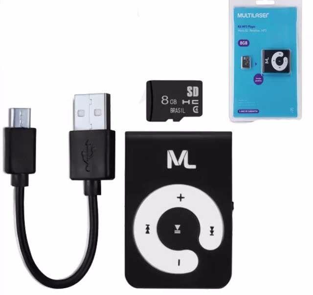 Kit Mp3 Player + Cartão 8GB + Cabo USB Multilaser - MC300