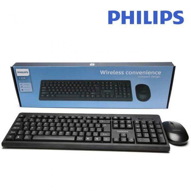 Kit Teclado e Mouse Sem Fio Padrão ABNT Philips C324