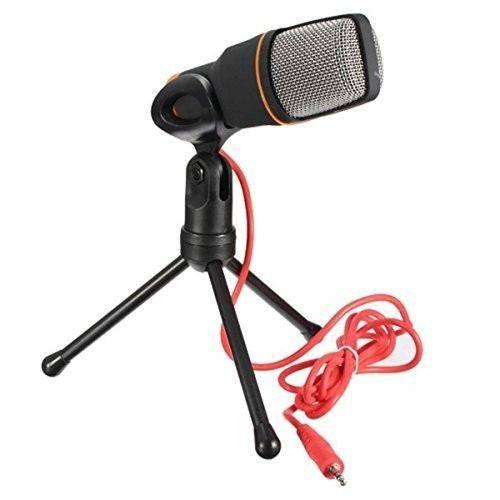 Microfone Condensador com Tripé - Redução de Ruído