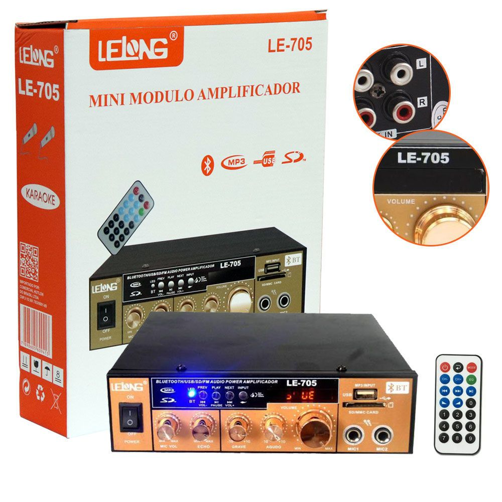 Mini Amplificador De Som Bluetooth Karaoke Le-705 Lelong 110v Usb Cartão Mp3 Fm 2 Canais