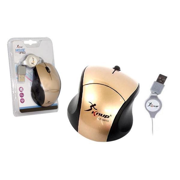 Mini Mouse Óptico Com Cabo Retrátil Usb KP-M619 KNUP