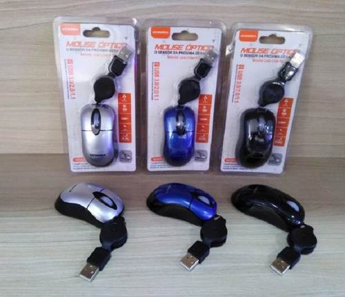 Mini Mouse Retrátil Com Fio Óptico Usb Ecooda Ms8025