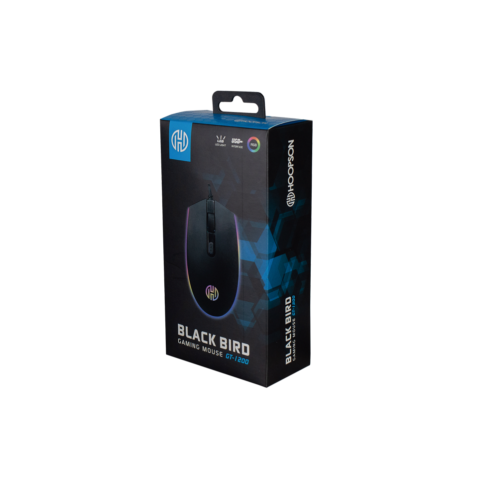 Mouse Gamer  Black Bird 2400 Dpi usb cabo 1,5 m Hoopson GT 1200