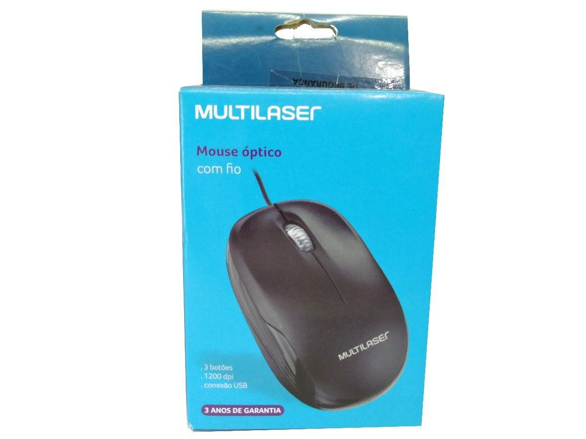 Mouse Sensor óptico com fio entrada usb 1200dpi Multilaser MO255