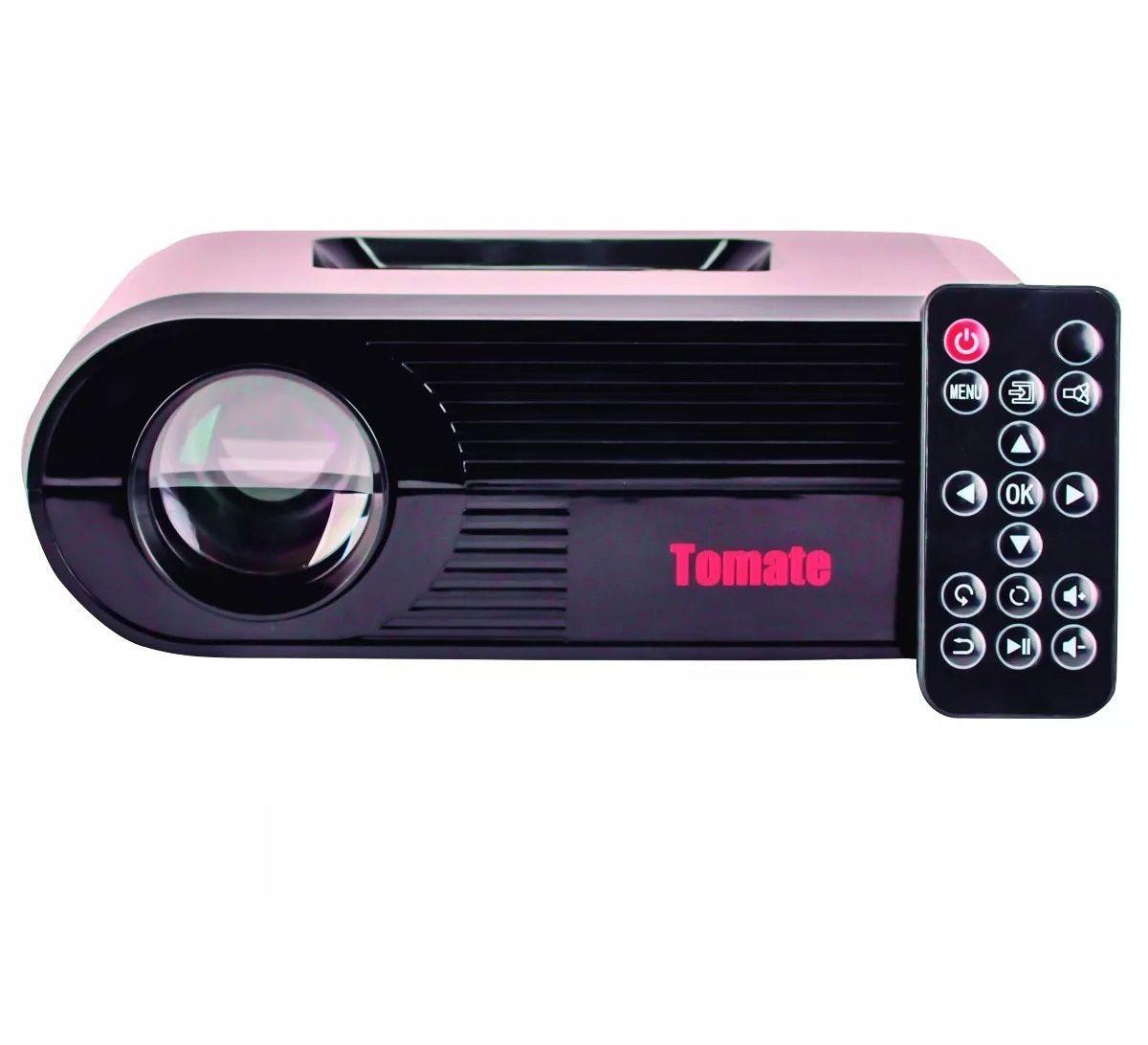 Projetor LED 300 Lumens até 130 Polegadas - HDMI USB AV - Tomate