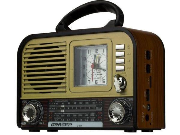 Rádio Retro Bluetooth Fm Am Mp3 Sd Card Usb Relógio