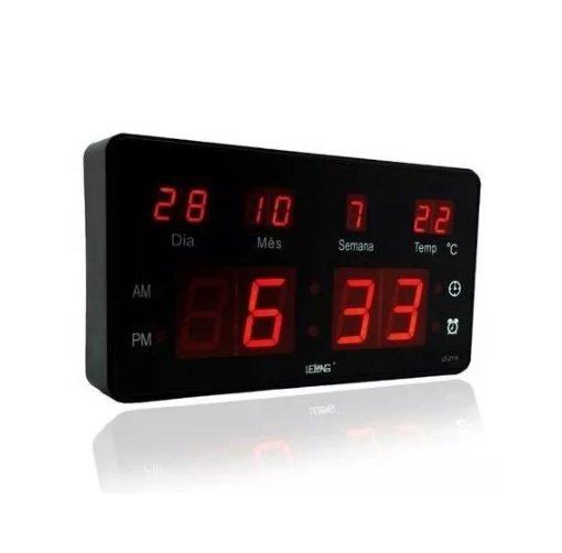 Relógio De Parede Led Digital Temperatura Lelong Le-2115