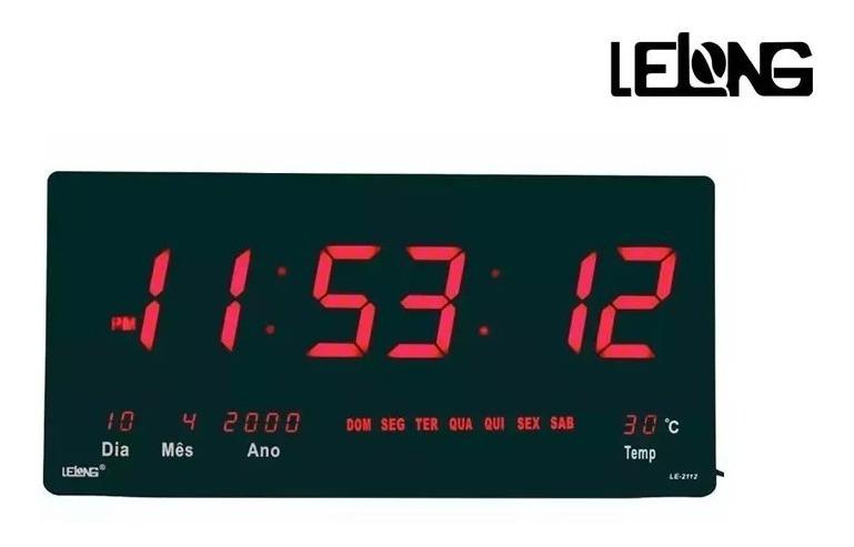Relógio Parede Digital Painel Led Grande,data,termometro 46c Lelong LE-2112