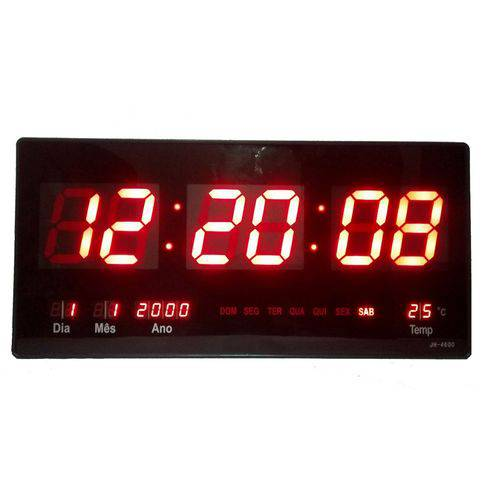 Relógio Parede Led Digital Gigante 46cm Data Termômetro