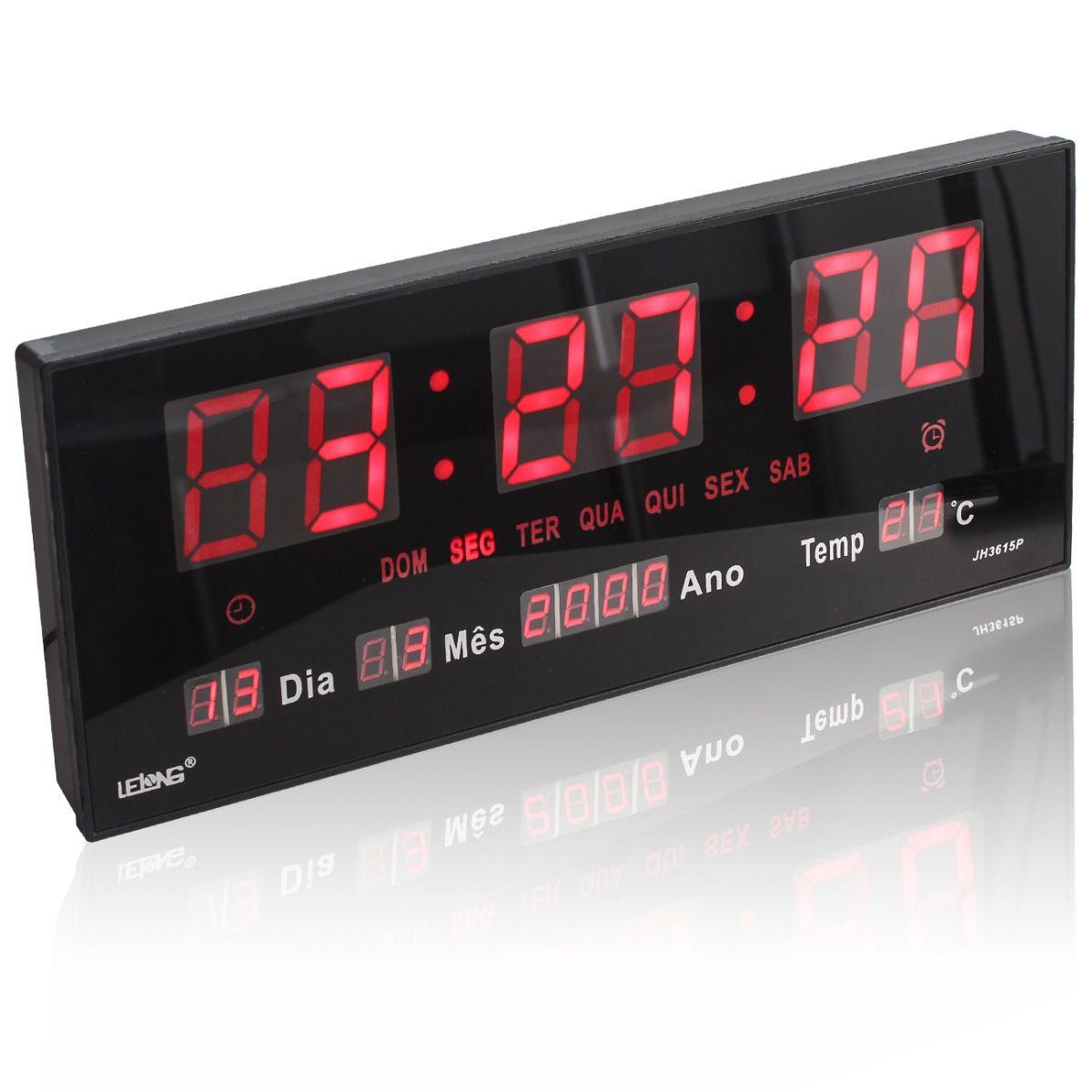 Relógio Parede Led Digital Temperatura Calendário Alarme LE-2111