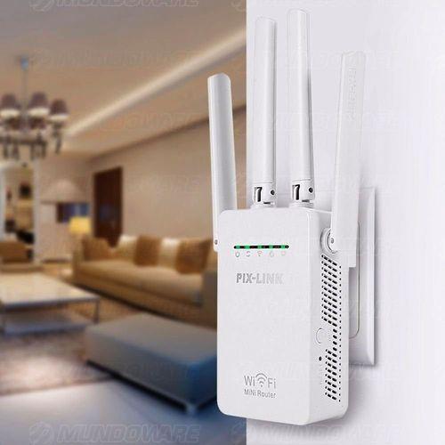 Repetidor Wireless 4 Antenas Externas 300mbps Parede pix-link Lv-wr09