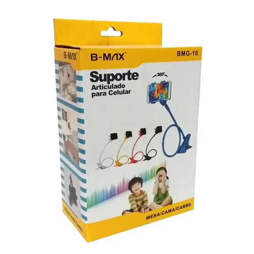 Suporte longo pregador p celular b-max BMG-16 de ferro 360 graus