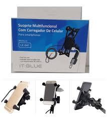 Suporte Multifuncional  de moto com Carregador para celular It-blue Le-041