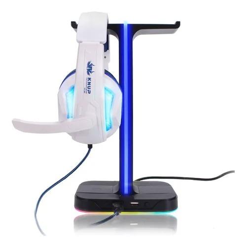 Suporte Para Headset Gamer Apoiador Fone Ouvido De Mesa Rgb