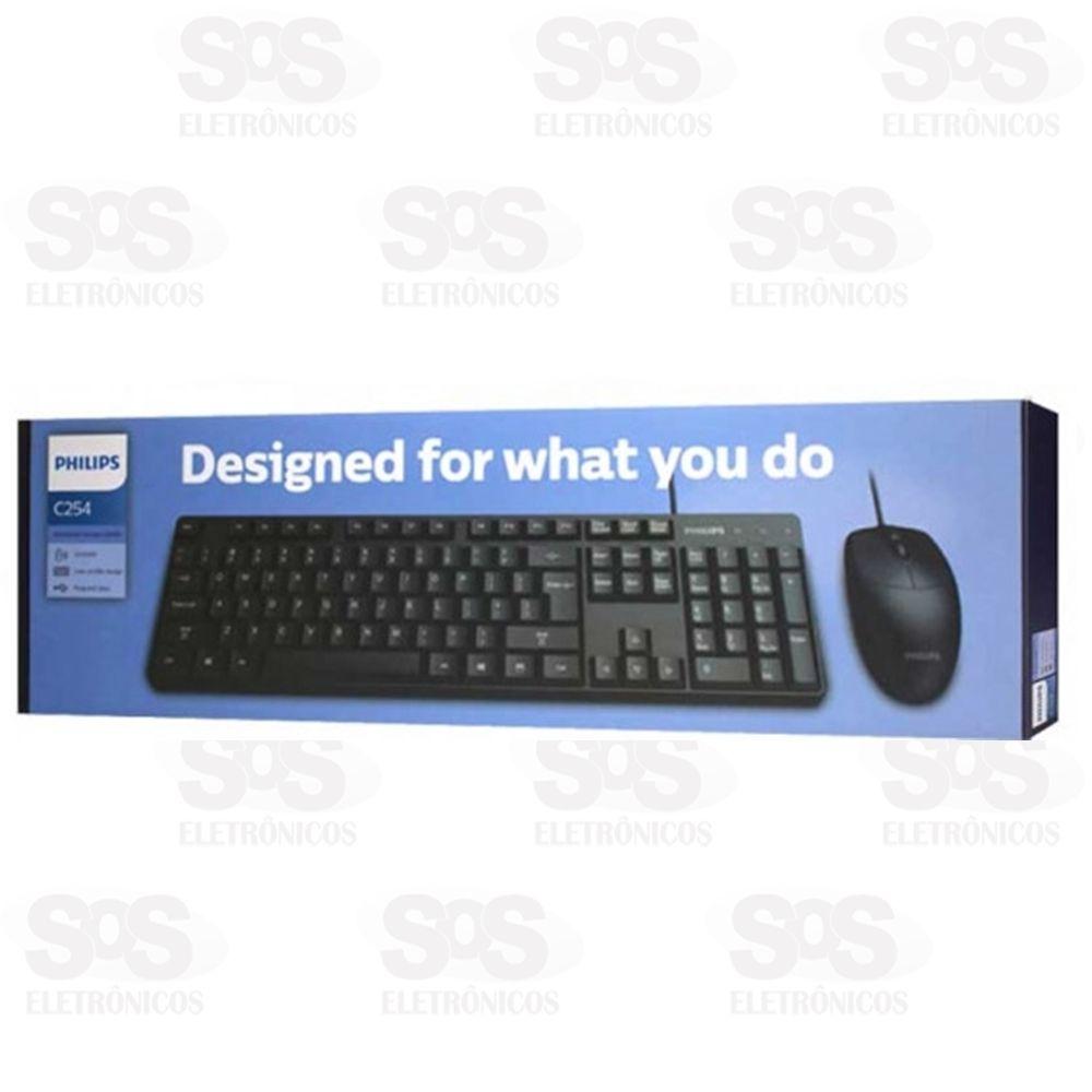 Teclado e Mouse com Fio C254 Preto - Philips