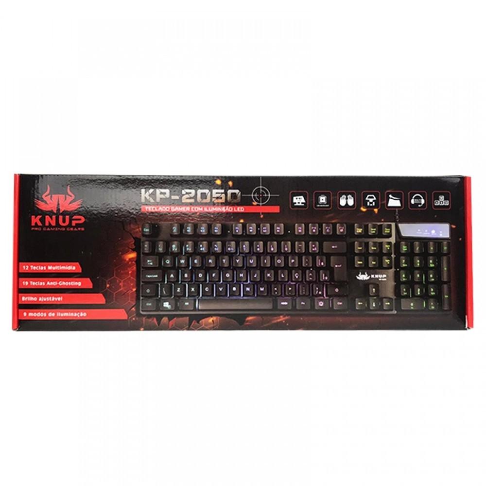 Teclado Gamer Semi-mecânico KP-2050 com Iluminação de LED - Knup