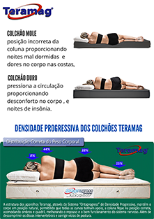 Colchão Teramag Colors casal 1.38 x 1.88 x 0.60 com Massagem e  Box