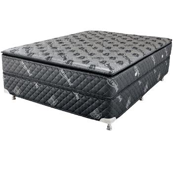 Colors Line Black Silver 1.63 x 2.03 x 0.60 com Vibromassagem e Base Box (King)