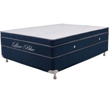 colchão Teramag 1.58 x 1.98 x 55 cm com base Box Baú e sem massagem cor azul