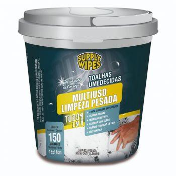 Balde 150 Toalhas Umedecidas Multiuso Limpeza Pesada - Supply Wipes
