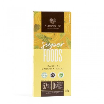 Chocolate 67% Banana + Carvão Ativado SUPERFOOD (80g) - Chocolife