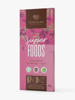 Chocolate 67% Castanha do Brasil + Açai (80g) - Chocolife