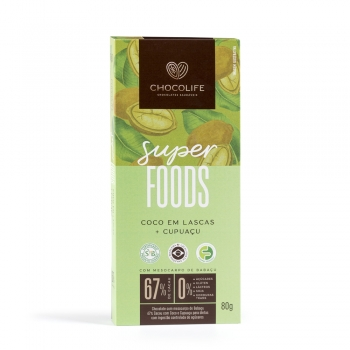 Chocolate 67% Coco em Lascas + Cupuaçu SUPERFOOD (80g) - Chocolife