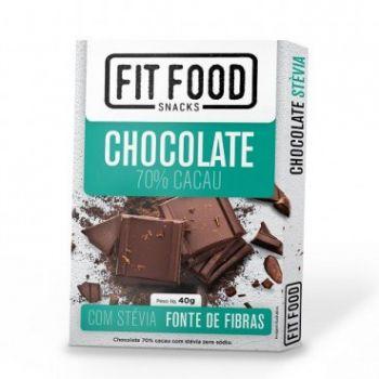 Chocolate 70% com Stévia (40g) - Fit Food