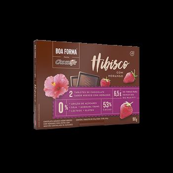 Chocolate Boa Forma Chocolife 53% Cacau Sabor Hibisco Com Morango 50g - 2 Unidades