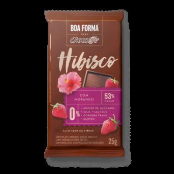 Chocolate Boa Forma Hibisco Com Morango 53% cacau (25g) Chocolife