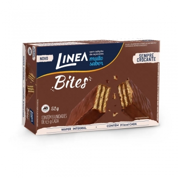 Linea Bites Mini Wafer Integral Ao Leite (Caixa com 8 unidades) 52g - Linea