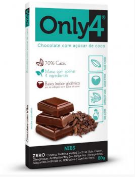 Only4 Chocolate com Açúcar de Coco com Nibs 80g