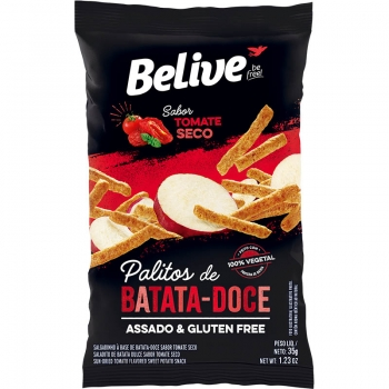 PALITOS DE BATATA-DOCE SABOR TOMATE SECO (35g) - BELIVE