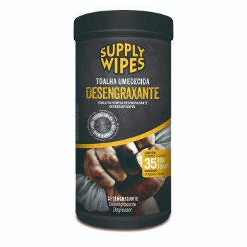 Pote 35 Toalhas Umedecidas Desengraxante - Supply Wipes
