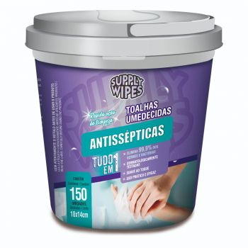 Balde 150 Toalhas Umedecidas Antissépticas - Supply Wipes