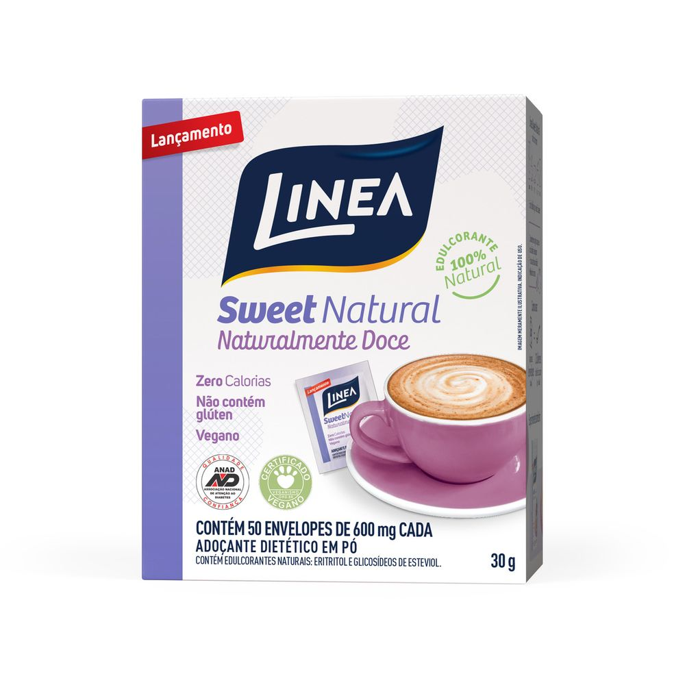 Adoçante Sweet Natural Em Pó (50 Sachês) - Linea