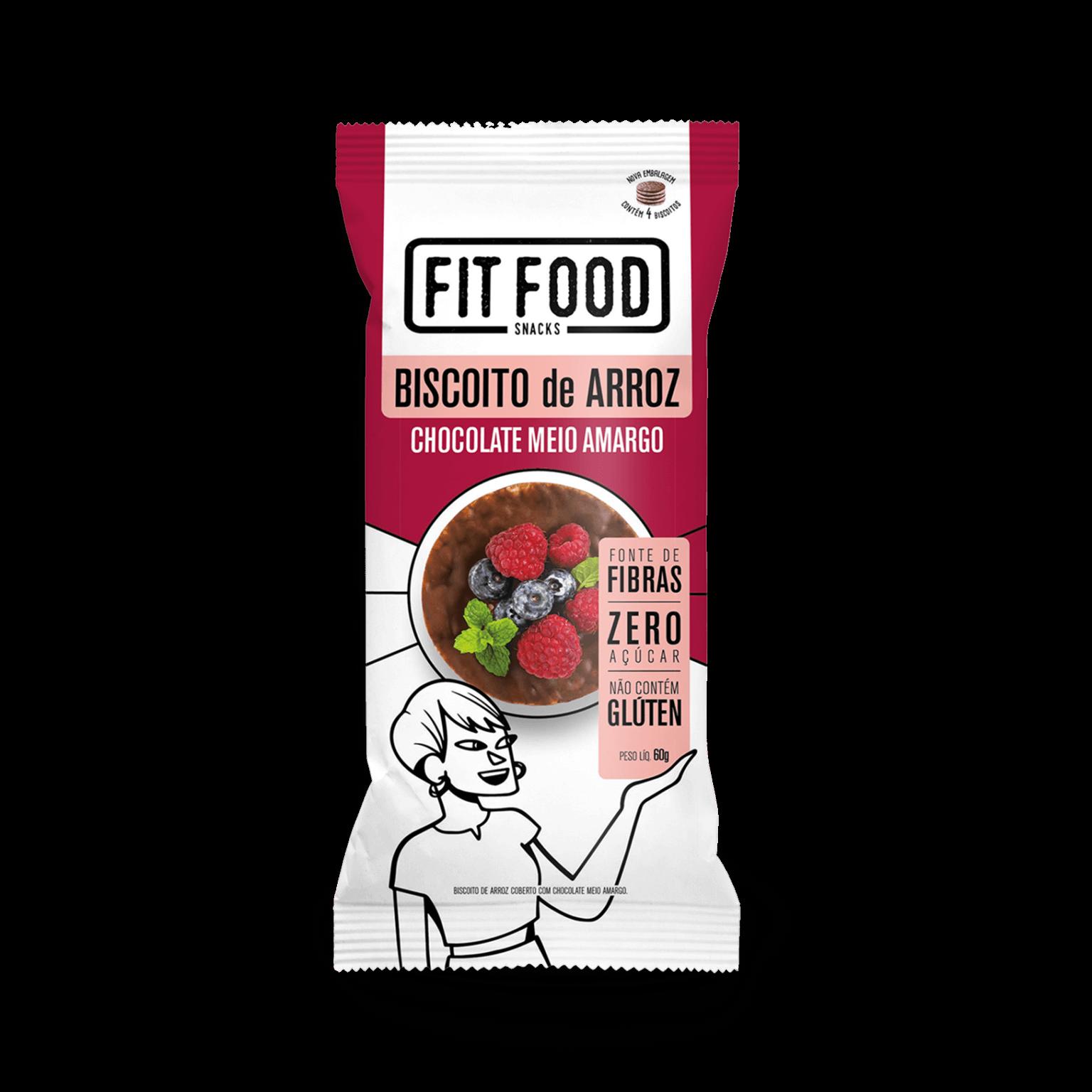 Biscoito de Arroz com Chocolate Meio Amargo (70g) - Fit Food