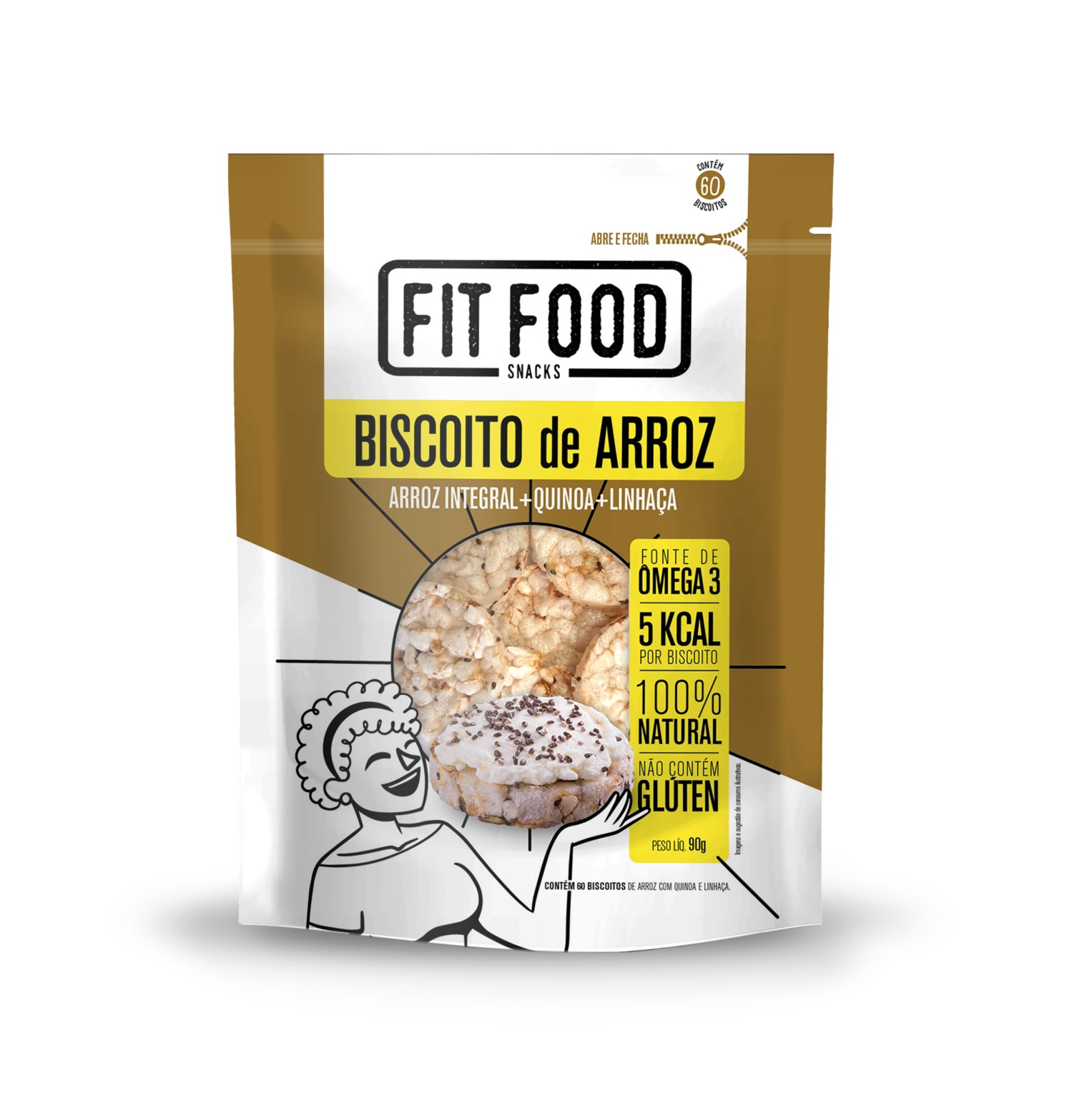 Biscoito de Arroz Com Quinoa e Linhaça (90g) - Fit Food