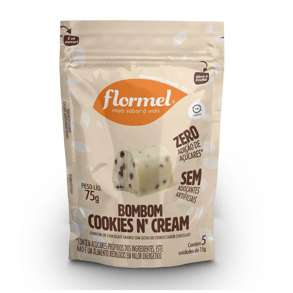 Pacote 5 unidades Bombom Cookies N' Cream (75g) - Flormel