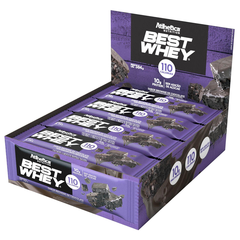 Caixa 12 unidades Best Whey Bar Brownie Chocolate Barrinha Barra - Atlhetica Nutrition