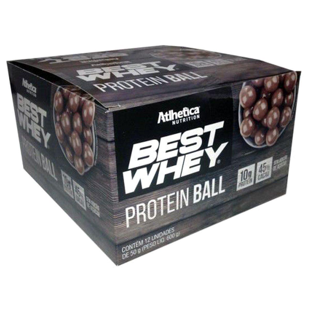 Caixa 12 unidades Best Whey Protein Ball Chocolate ao Leite (50g) - Atlhetica Nutrition
