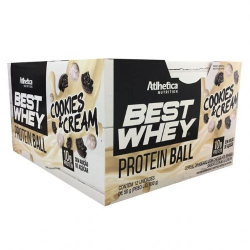 Caixa 12 unidades Best Whey Protein Ball Cookies N Cream (50g) - Atlhetica Nutrition